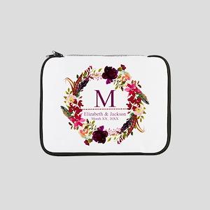 "Boho Wreath Wedding Monogram 13"" Laptop Sleeve"