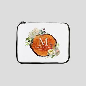 """Floral Wood Wedding Monogram 13"""" Laptop Sleeve"""