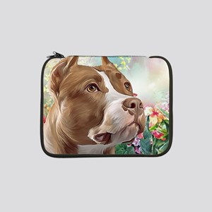 """Pit Bull Painting 13"""" Laptop Sleeve"""