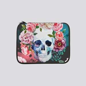 "Flowers and Skull 13"" Laptop Sleeve"