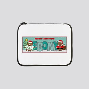 "Merry Christmas Ebony with Owls 13"" Laptop Sleeve"