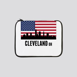 """Cleveland OH American Flag 13"""" Laptop Sleeve"""