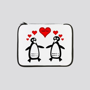 """Personalized Penguins In Love 13"""" Laptop Sleeve"""