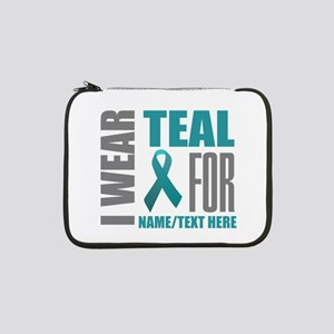 "Teal Awareness Ribbon Customized 13"" Laptop Sleeve"