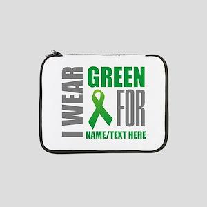 """Green Awareness Ribbon Customize 13"""" Laptop Sleeve"""