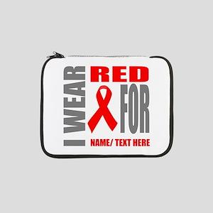 "Red Awareness Ribbon Customized 13"" Laptop Sleeve"