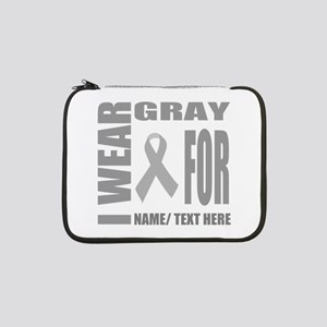 "Gray Awareness Ribbon Customized 13"" Laptop Sleeve"