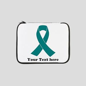 """Teal Ribbon Awareness 13"""" Laptop Sleeve"""