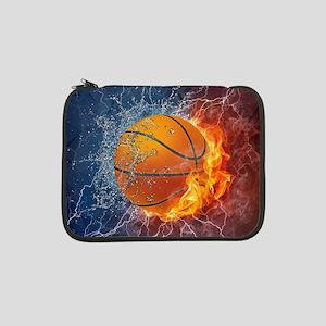 "Flaming Basketball Ball Splash 13"" Laptop Sleeve"