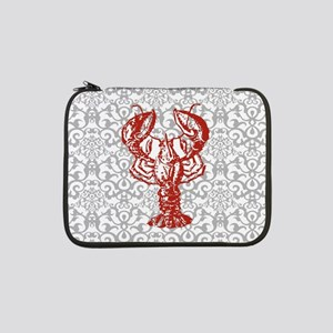 """gray damask red lobster 13"""" Laptop Sleeve"""
