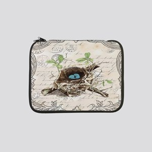 "modern vintage french bird nest 13"" Laptop Sleeve"