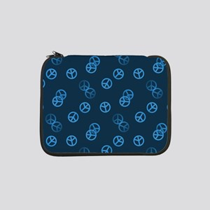 "Blue Peace Sign Pattern 13"" Laptop Sleeve"