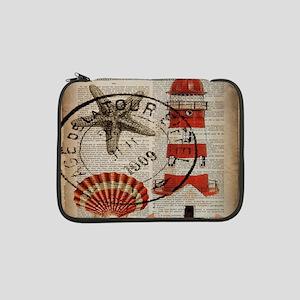 "vintage lighthouse sea shells 13"" Laptop Sleeve"