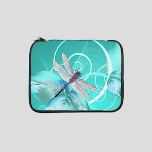 "Cute Dragonfly Aqua Abstract Flo 13"" Laptop Sleeve"