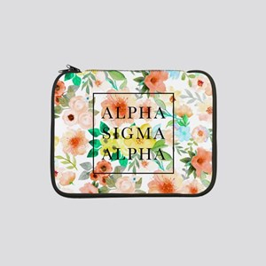 "Alpha Sigma Alpha Floral 13"" Laptop Sleeve"