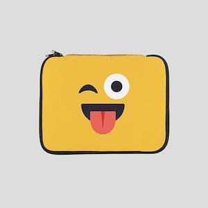 "Winky Tongue Emoji Face 13"" Laptop Sleeve"