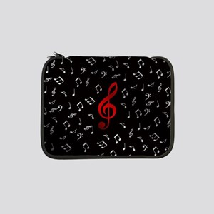 "red music notes in silver 13"" Laptop Sleeve"