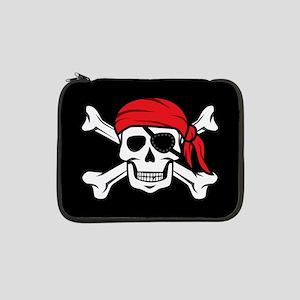 "Jolly Roger Pirate (on Black) 13"" Laptop Sleeve"