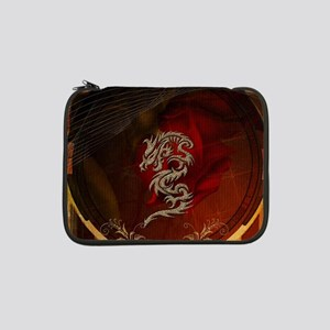 """Awesome dragon, tribal design 13"""" Laptop Sleeve"""