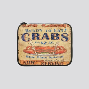 "vintage crab woodgrain beach art 13"" Laptop Sleeve"