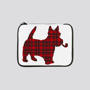 """Scottish Terrier Tartan 13"""" Laptop Sleeve"""