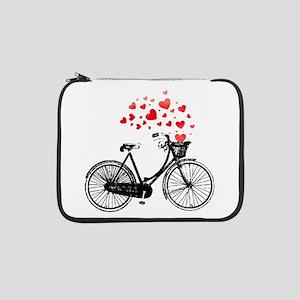 "Vintage Bike with Hearts 13"" Laptop Sleeve"