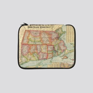 "Vintage Map of New England State 13"" Laptop Sleeve"
