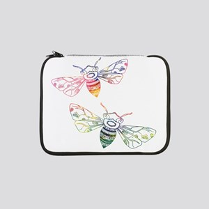 "Multicolored Honeybee Doodles 13"" Laptop Sleeve"