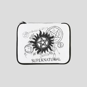"""SUPERNATURAL Rusty Metal black 13"""" Laptop Sleeve"""