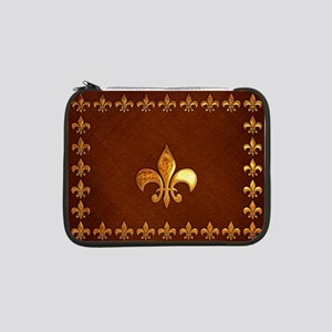 """Old Leather with gold Fleur-de-Lys 13"""" Laptop Slee"""