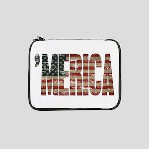 "Vintage Distressed MERICA Flag 13"" Laptop Sleeve"