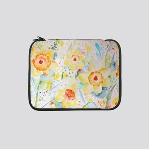 "Watercolor yellow flowers daffod 13"" Laptop Sleeve"