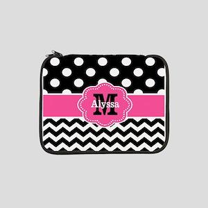 """Pink Black Dots Chevron Personalized 13"""" Laptop Sl"""