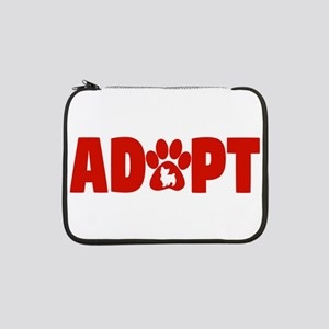 "Cute Pets Paw Cat Dog Adopt Red 13"" Laptop Sleeve"