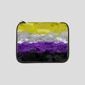 """Non-Binary Paint Splatter Flag 13"""" Laptop Sleeve"""