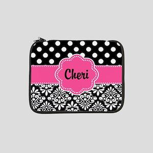 "Pink Dots Damask Personalized 13"" Laptop Sleeve"