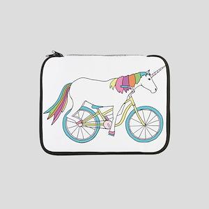 """Unicorn Riding Bike 13"""" Laptop Sleeve"""