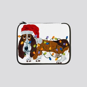 "Basset Tangled In Christmas Lights 13"" Laptop Slee"