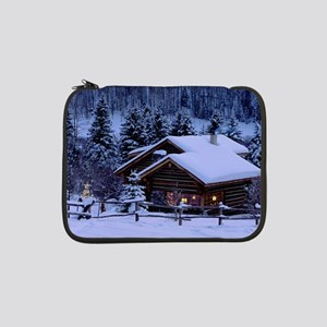 "Log Cabin During Christmas 13"" Laptop Sleeve"