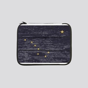 "Alaska State Flag On Old Timber 13"" Laptop Sleeve"