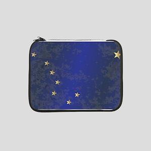 "Flag of Alaska Grunge 13"" Laptop Sleeve"