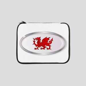 "Welsh Dragon Oval Button 13"" Laptop Sleeve"