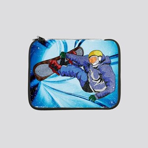 "Snowboarder in Edgy Snow Storm 13"" Laptop Sleeve"