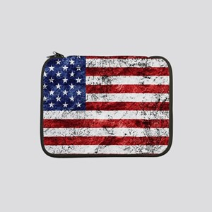 "Grunge American Flag 13"" Laptop Sleeve"