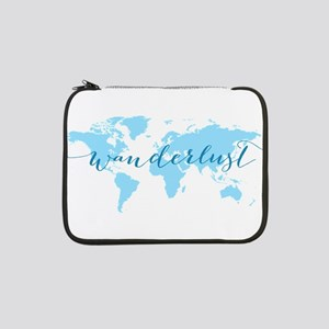 "Wanderlust, blue world map 13"" Laptop Sleeve"