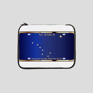 "Alaska State License Plate Flag 13"" Laptop Sleeve"