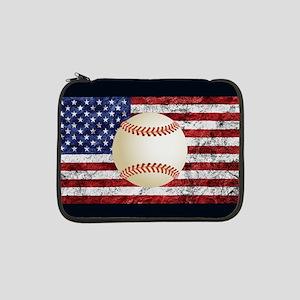 "Baseball Ball On American Flag 13"" Laptop Sleeve"