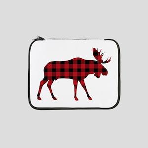 """Plaid Moose Animal Silhouette 13"""" Laptop Sleeve"""