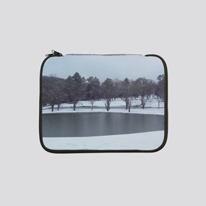 "Beautiful duck pond snow 13"" Laptop Sleeve"