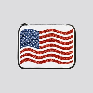 "sequin american flag 13"" Laptop Sleeve"